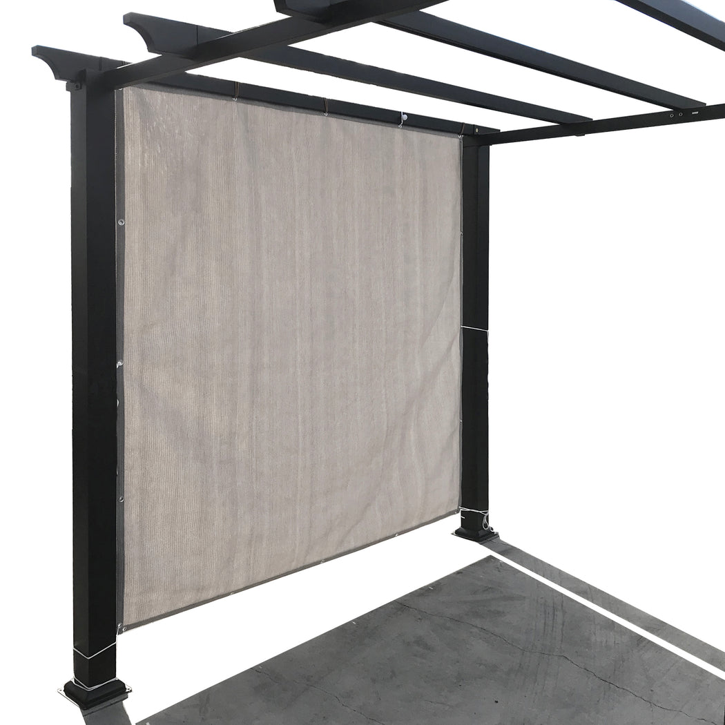 Sun Shade Panel Privacy Screen with Grommets on 4 Sides - Smoke