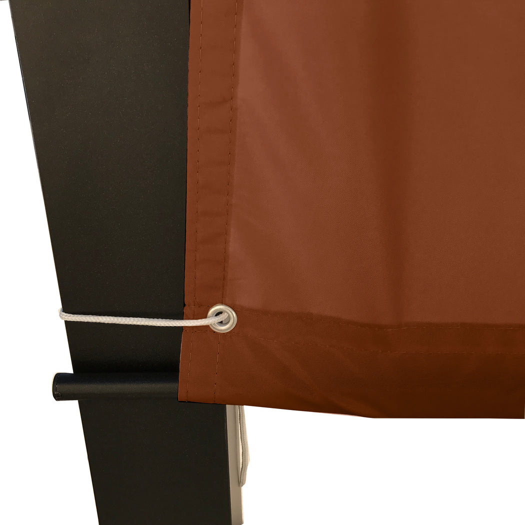 Custom Sizes Rod Pocket Waterproof Universal Replacement Shade Canopy Top Cover for Pergola - Pecan Brown (Pergola Not Included) *Rod Pockets on the Width (Length x Width)*