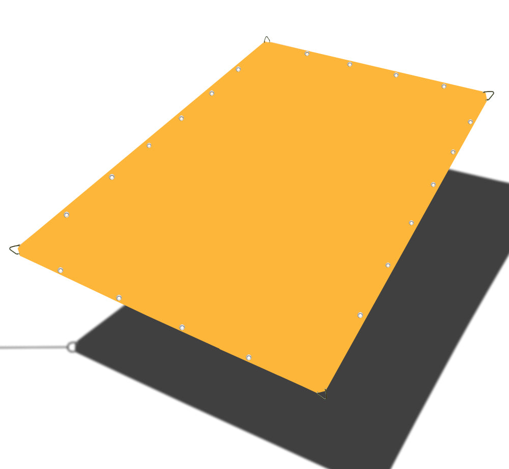 Custom Sizes Straight Edge Waterproof Woven Sun Shade Sail - Mango Yellow