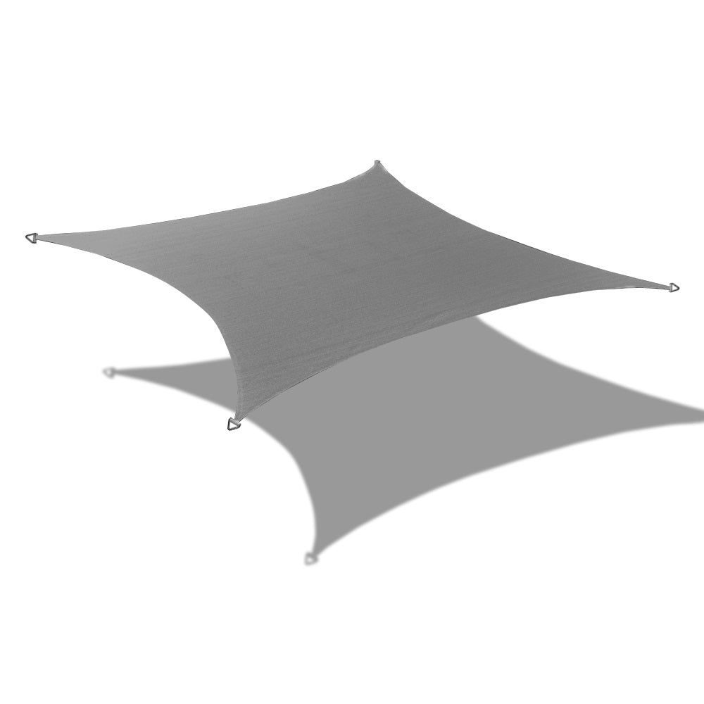 Custom Sizes Rectangular Waterproof Woven Sun Shade Sail w/Stainless Steel Hardware kit - Grey