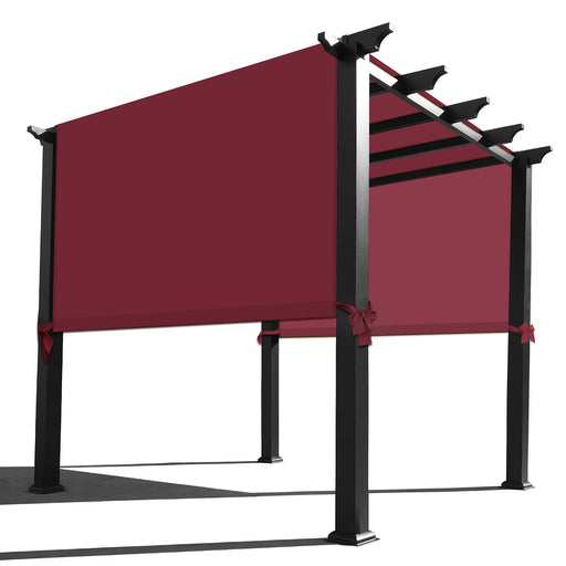 Rod Pocket Waterproof Universal Replacement Shade Canopy Top Cover for Pergola w/Rope - Burgundy Red (Pergola Not Included) *Rod Pockets on the Width (Length x Width)*