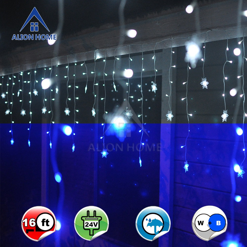 Snowflakes 2-in-1 Dual Color 176-Count LED Hanging Curtain Style Icicle Lights for Christmas Wedding Party Outdoor Indoor Decorations