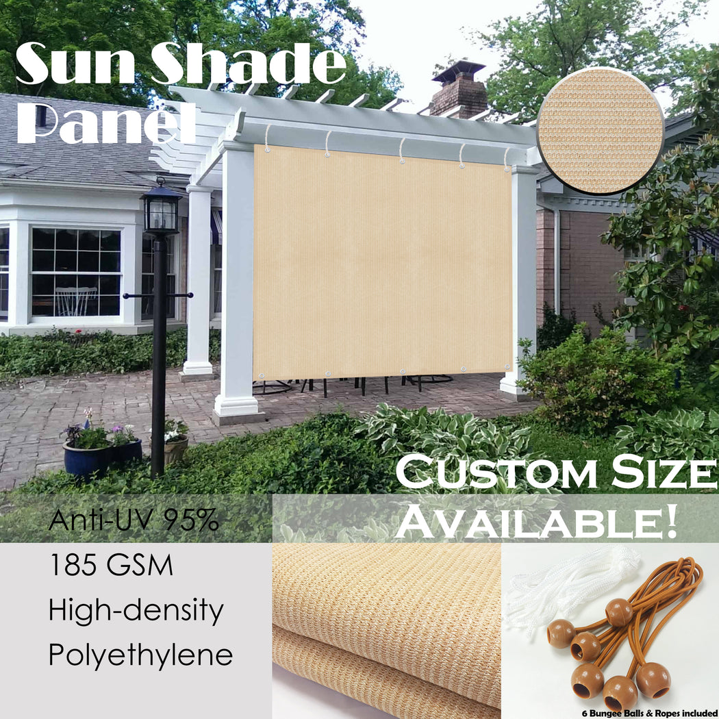 Custom Sized Shade Panel (2 Sides Hemmed w/Grommets) - Banha Beige (Width x Height)