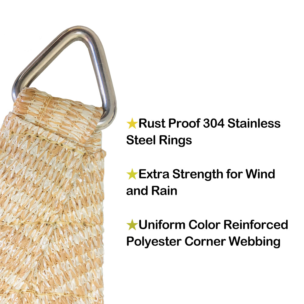 Custom Right Triangle HDPE UV Block Sun Shade Sail (Hardware Kit included) - Banha Beige