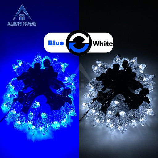 Cool White + Blue C7 Lights 50 Dual-Color DIP LED (9 Lighting Functions) 18ft