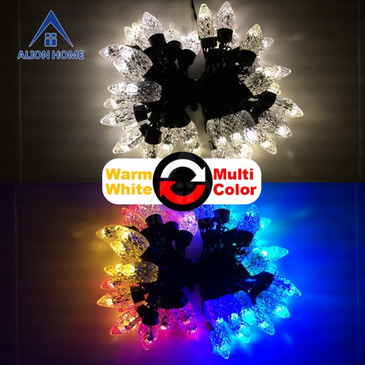 White + Multicolor C7 String Lights 50 Dual-Color DIP LED 9 Lighting Functions 18ft