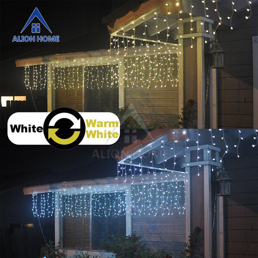 White + Warm White Curtain Lights - Dual-Color 256 LED 9 Lighting Functions