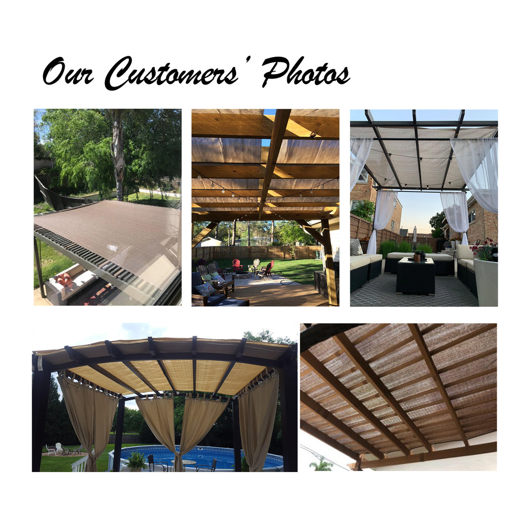HDPE Pergola / Patio Cover Panel w/ 4 Side Hems & Grommets  - Walnut