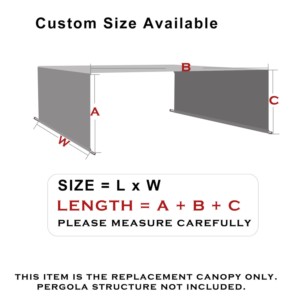 HDPE Sun Shade Rod Pocket Panel for Pergola - Grey (Pergola Not Included) *Rod Pockets on the Width (Length x Width)*