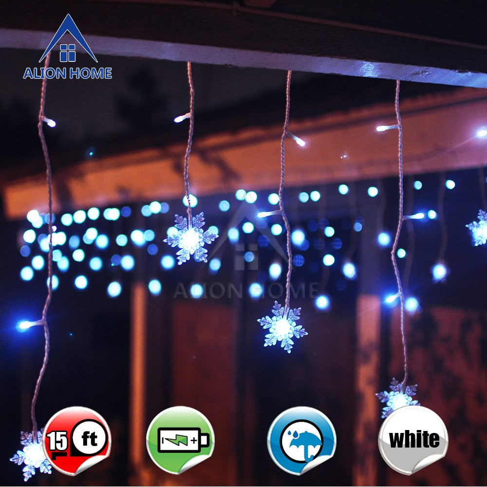 Cool White Battery Powered Snowflakes 99 LED w/ 9 Lighting Functions