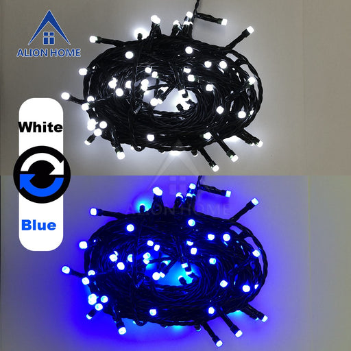 Cool White + Blue String Lights 100 Dual-Color DIP LED 9 Lighting Functions 33ft