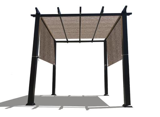 HDPE Sun Shade Rod Pocket Panel for Pergola - Walnut (Pergola Not Included) *Rod Pockets on the Width (Length x Width)*