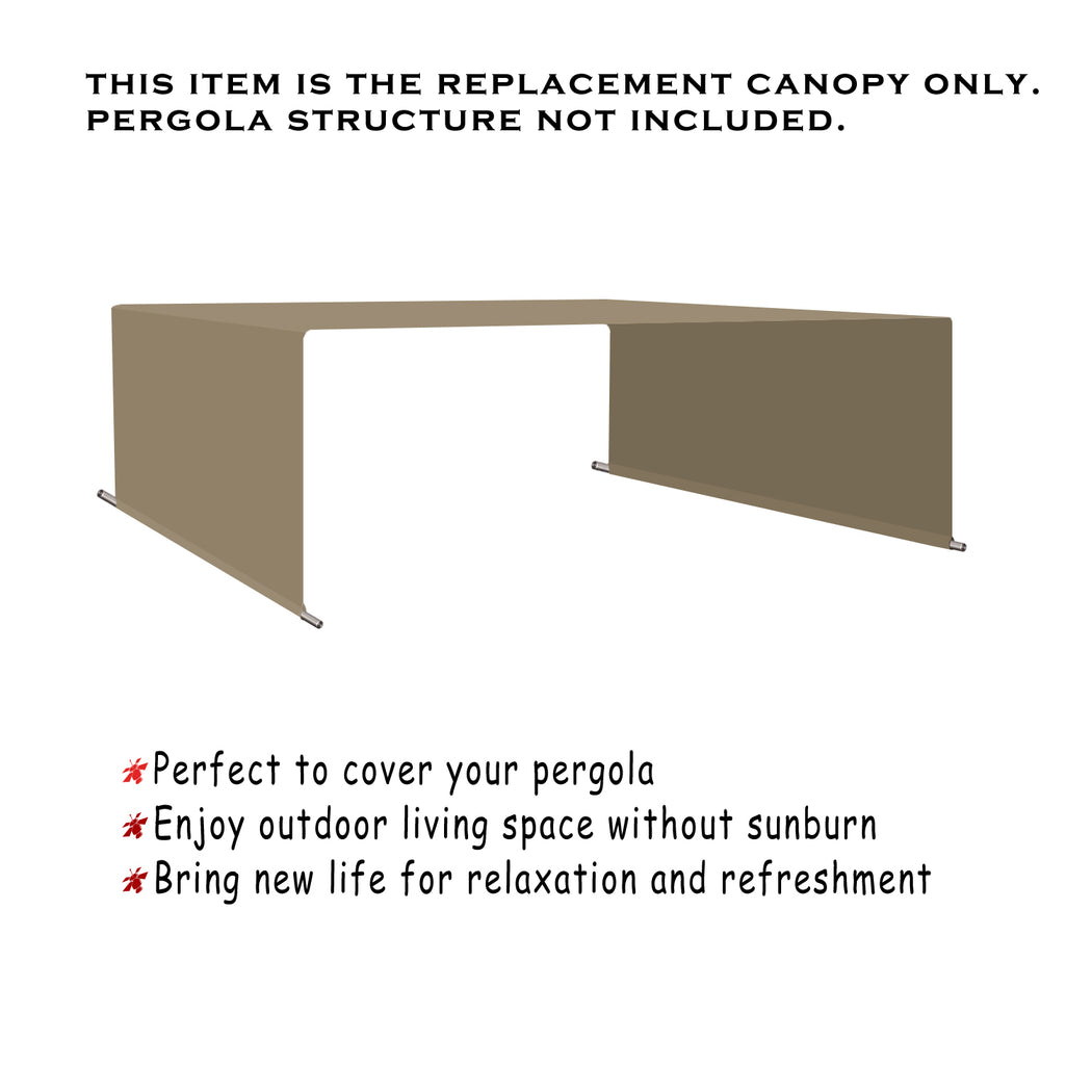 Custom Sizes Rod Pocket Waterproof Universal Replacement Shade Canopy Top Cover for Pergola - Muddy Water (Pergola Not Included) *Rod Pockets on the Width (Length x Width)*