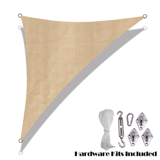 Custom Size Right Triangle HDPE UV Block Sun Shade Sail (Hardware Kit Included) - Banha Beige