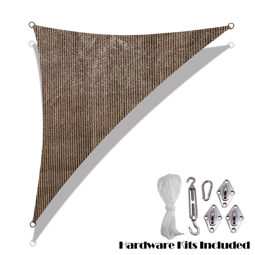 Custom Size Right Triangle HDPE UV Block Sun Shade Sail (Hardware Kit Included) - Mocha Brown
