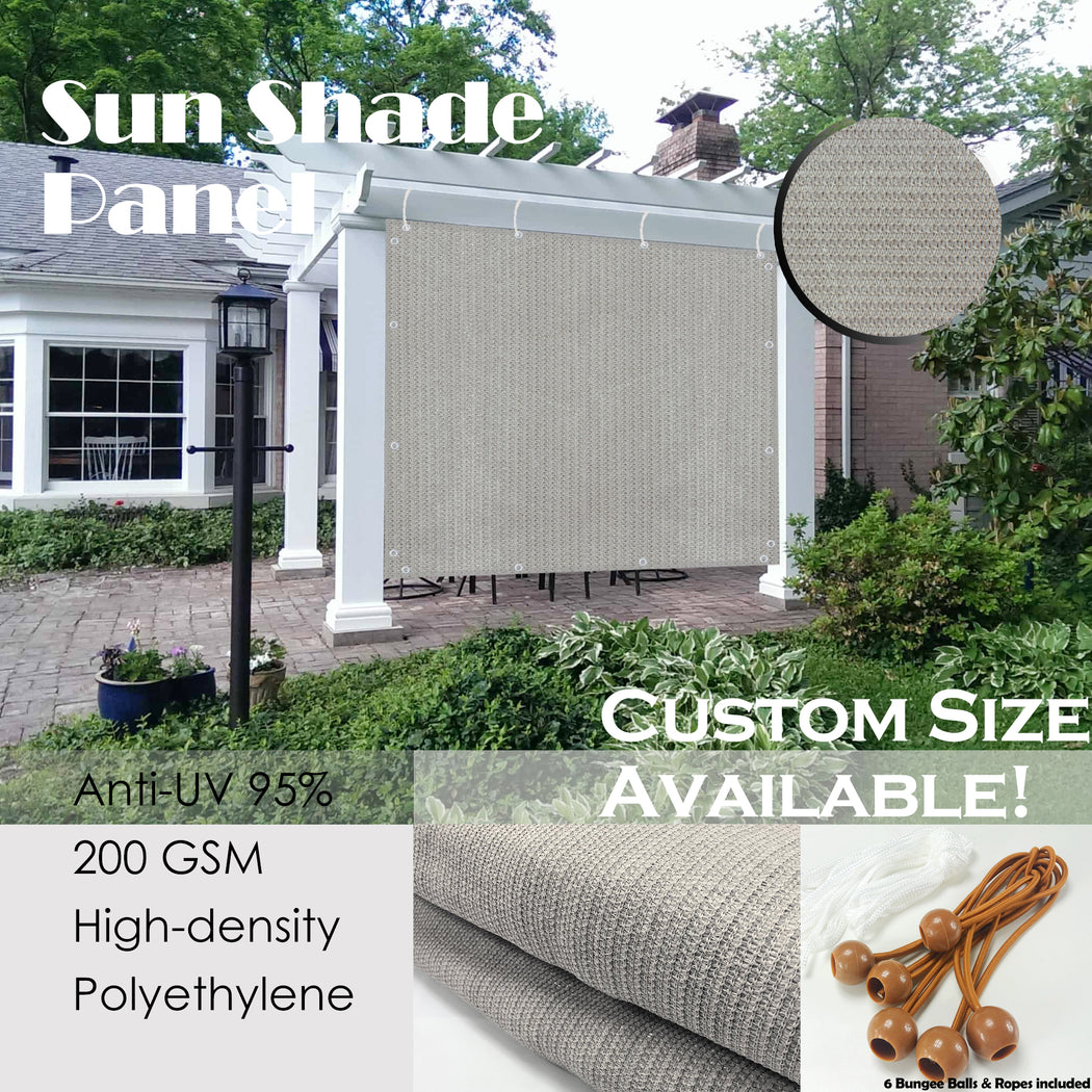 Custom Sized Sun Shade Privacy Panel (4 Sides Hemmed w/Grommets) - Smoke