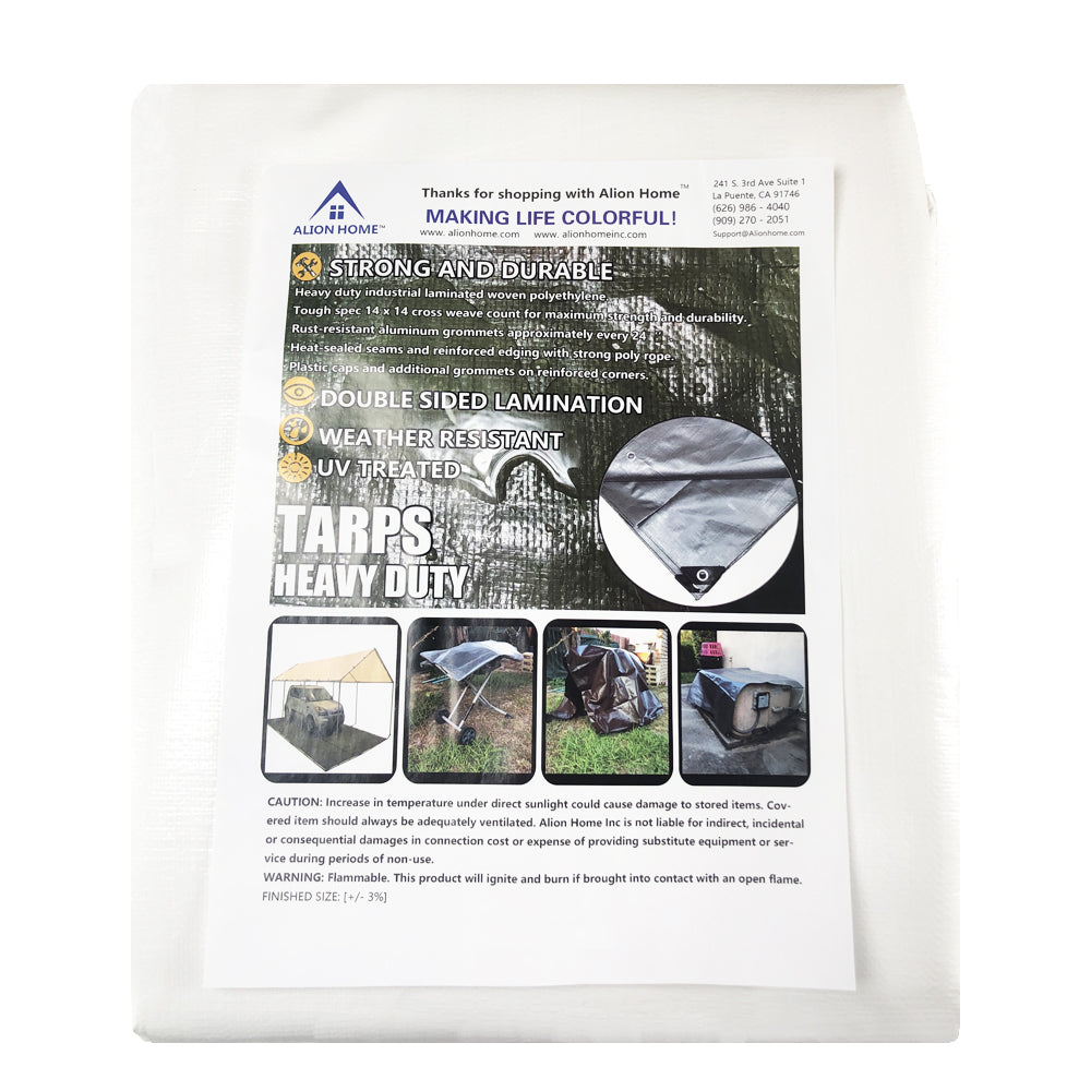 Alion Home Heavy Duty 12 Mil Poly Tarps - White