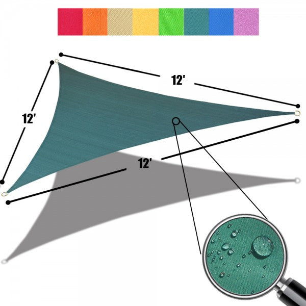 (12ft x 12ft x 12ft) Triangular Waterproof Woven Sun Shade Sail - Vibrant Colors