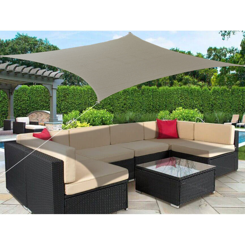 Alion Home Custom Sizes Rectangle Pu Waterproof Woven Sun Shade Sail