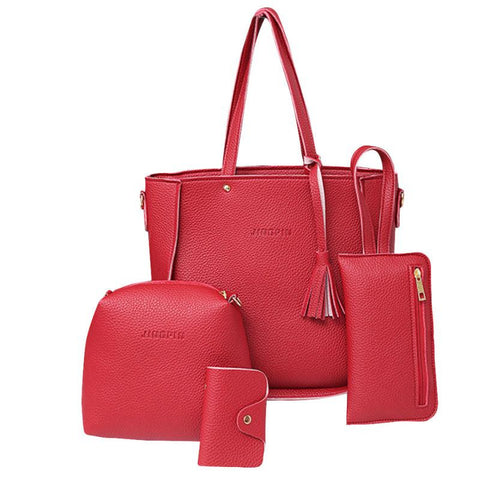 Xiniu 4 PCS women bag set leather Bags