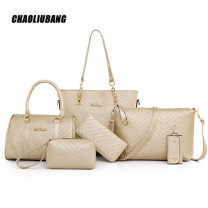 Leather Handbag 6 Piece Set