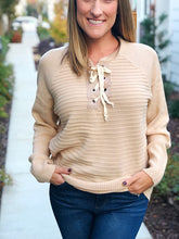 LACE UP SWEATER KNIT TOP-TAUPE