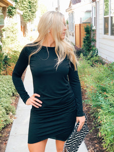 THE LILLY RUCHED LONG SLEEVE DRESS-BLACK