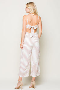SASSY STRIPED TIE BACK JUMPSUIT