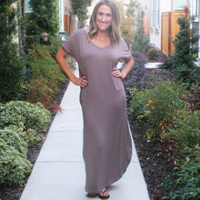 OPEN BACK MAXI DRESS-TAUPE GREY