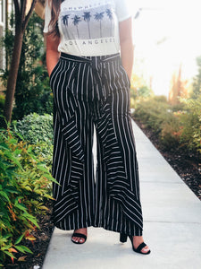 WORKING GIRL STRIPE PANTS-BLACK