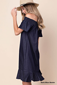 MEET ME IN SOHO OFF THE SHOULDER DENIM DRESS