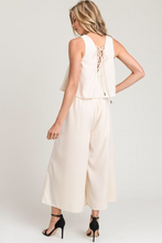 LACE UP BACK WOVEN JUMPSUIT