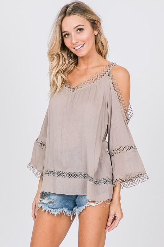 DELIA COLD SHOULDER CROCHET TOP