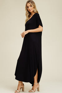 SONOMA STYLE POCKETED  MAXI DRESS-BLACK