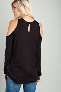 SULTRY OPEN COLD SHOULDER CROSS TOP