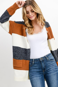 CITY SCENE COLOR BLOCK CARDIGAN