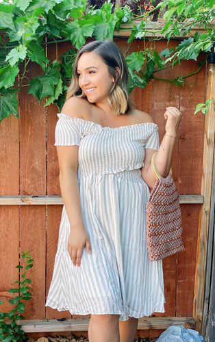 HELLO SUNSHINE STRIPED DRESS- TAN