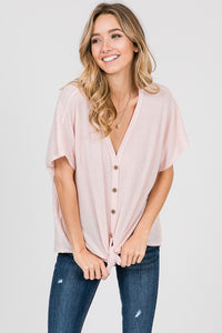 V-NECK BUTTON DOWN