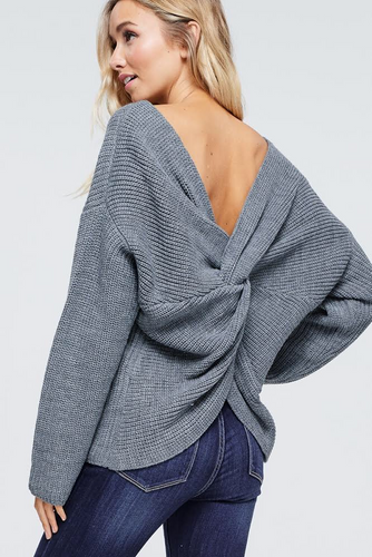 QUINN BACK TWIST SWEATER