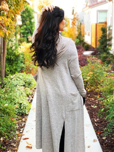 POCKETED ANKLE LENGTH OPEN CARDIGAN HOODIE