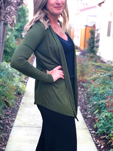 KNIT OPEN FRONT DRAPED CARDIGAN-OLIVE