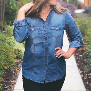 BUTTON DOWN DENIM SHIRT WITH ROLLED UP SLEEVES-DARK BLUE