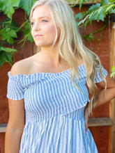 HELLO SUNSHINE STRIPED DRESS-BLUE