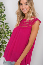 BOHO CROCHET TOP-FUCHSIA