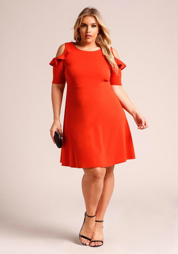 RED FOX COLD SHOULDER DRESS