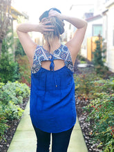 EMBROIDERY STELLA TOP W/LACE UP BACK