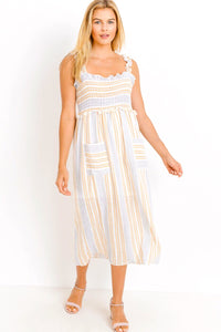 SUNNY SIDE LINEN SMOCKED DRESS