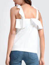 TAKE ME TO NAPA SHOULDER TIE RUFFLE TOP