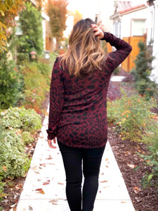 LEOPARD SIDE TWIST KNIT TOP-BURGANDY