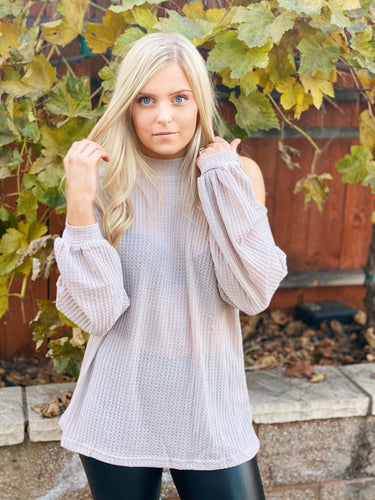 TRUE OF HEART OPEN SHOULDER TOP-GREY